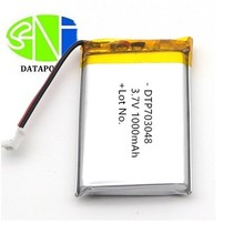 3.7V 1000mah DTP703048 lipo/ lithium ion /li-ion batteries battery for bluetooth