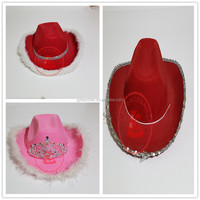 cheap plain wholesale pink cowboy hat