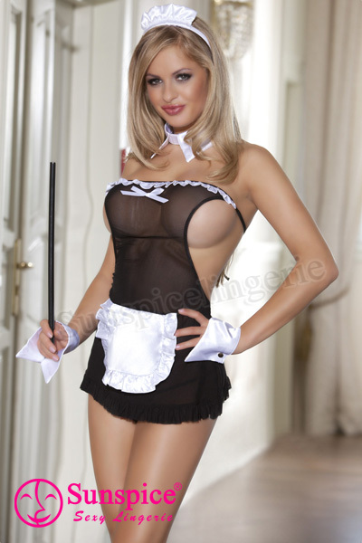 Wholesale sexy mature woman sexy maid costume lingerie with mesh boob