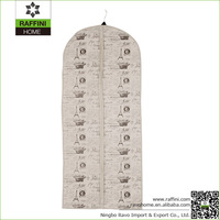 Print Decorative Polyester/flax Hanging Dress Storage Bag
