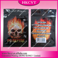 New Arrival ~~~Pure Fire 3g Potpourri Zip Lok Bags / Custom Printed Mylar Foil Hookah Blast Herbal Incense Potpourri Bags