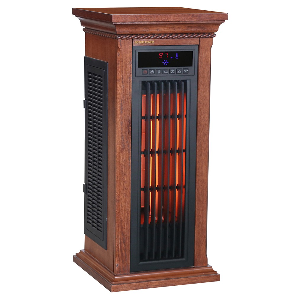 Electric Tower Shaped Infrared Heaters and Fan with Walnut ...