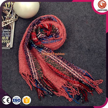 fashion scarf fight color striped mohair wool scarves fringed shawl