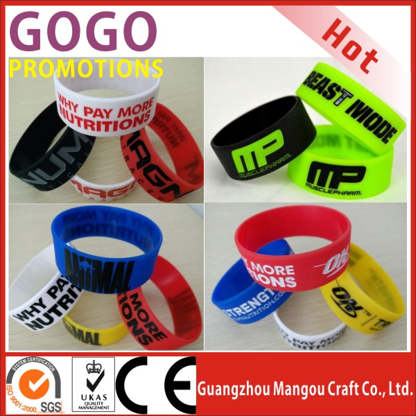 Promotional custom 1 inch deboss color silicone rubber wrist band saying words,1 inch wide big promotional silicone wrist band