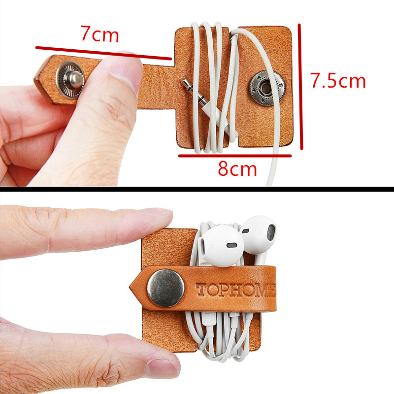 Headset Headphone Earphone Wrap Winder Organizer/ Cord Manager/ Cable Winder with Genuine Leather Handmade