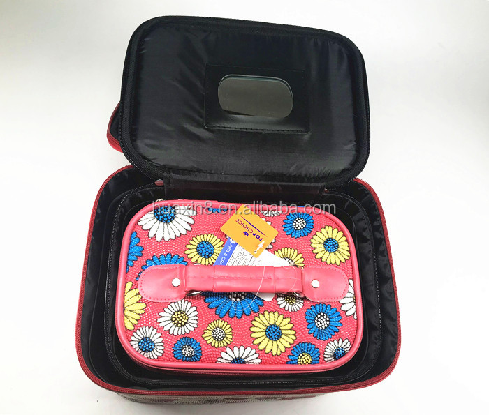 Fashion PVC flower printed huge capacity lady makeup case