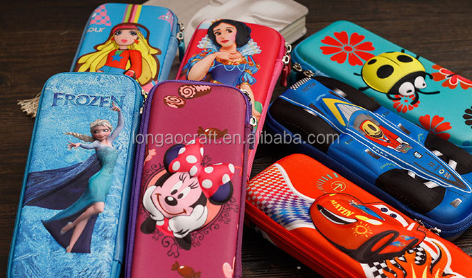 (China suppliers)3D/5D EVA material cute pencil case and accept custom eva case