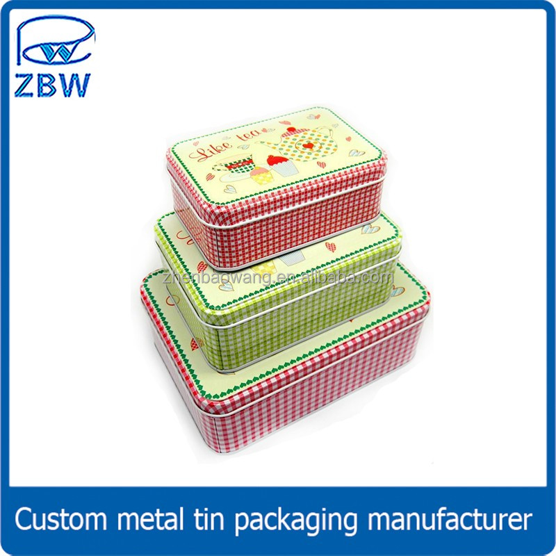 Rectangle shaped cake tin box/cake package tin can/gift set box