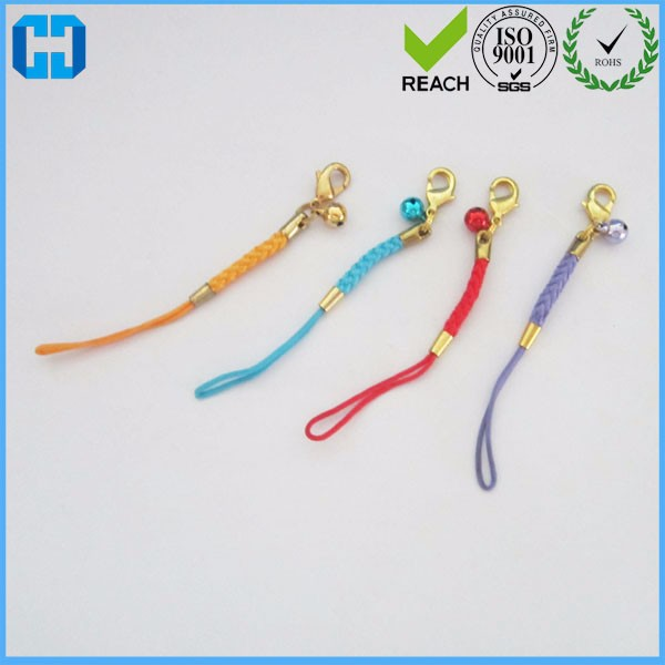 Colored Strap Charm Cords Mobile Phone Strap Keychain With Lobster Clasp