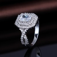 925 Sterling Silver 18K White Gold Plated Cubic Zirconia Double Halo Engagement Ring
