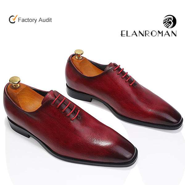 Wholesale Men dress shoes genuine leather formal occasion footwear oxford burnished leather shoe