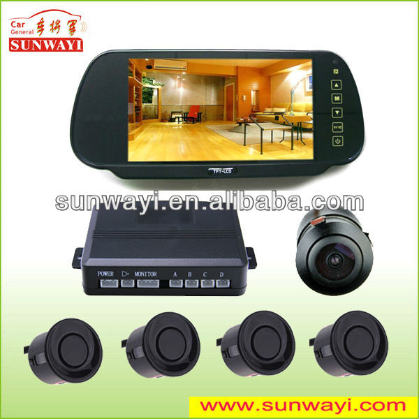 7 inch rear view mirror display car reversing aid with 4 sensors video parking sensor