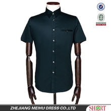 fashional men's shirt square collar patched fake chest pocket short sleeve shirt