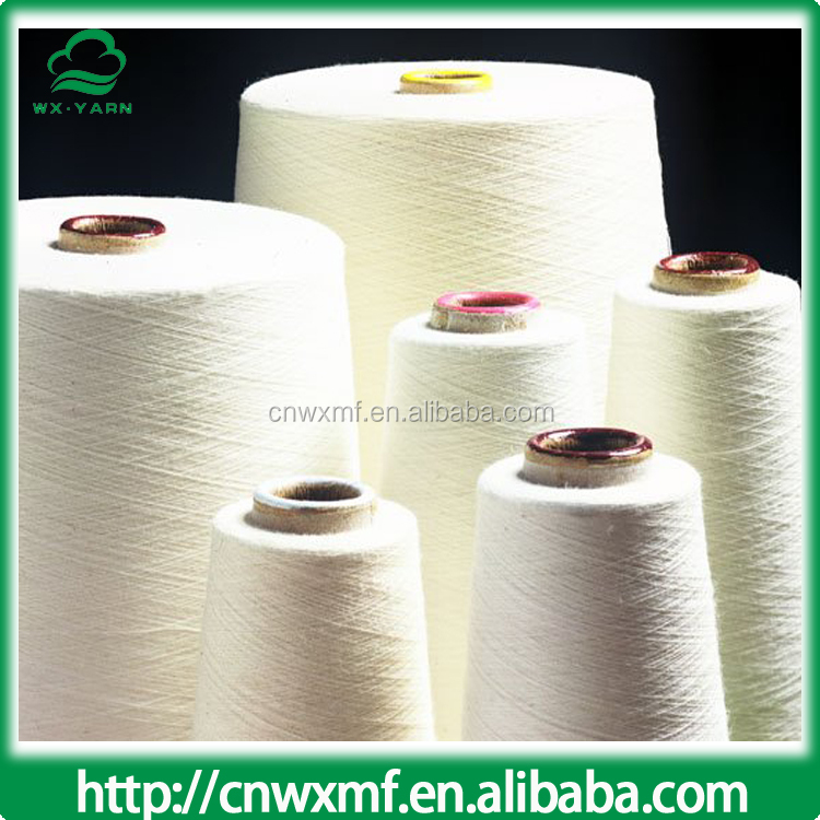 recycled open end bleached white cotton polyester blended  mop yarn