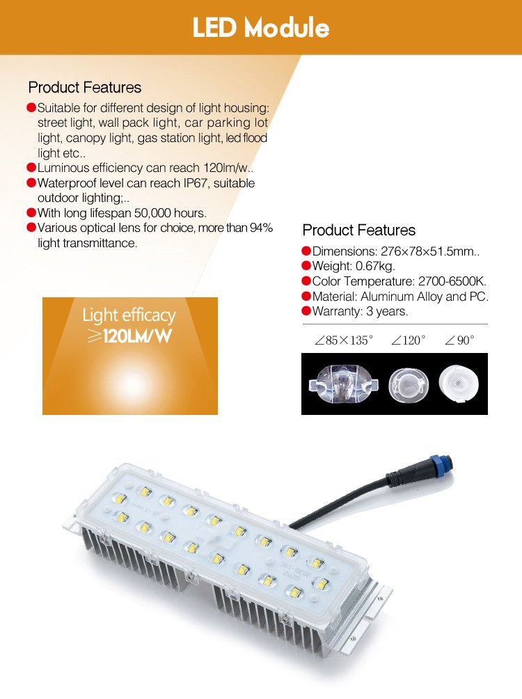 made in china good quality cool white 6000lm led street light module 60w