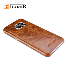 ICARER Oil Wax Real Leather Back Case Cover For Samsung Galaxy S7 Edge