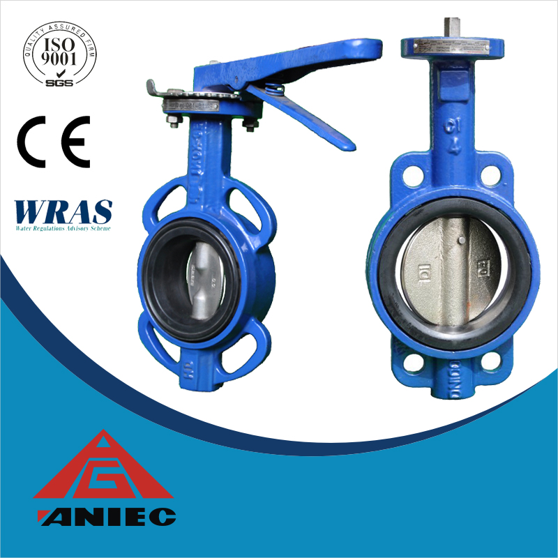 Cast iron lever handle operated wafer end type manual butterfly valve price