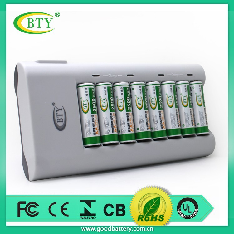 intelligent 8 pcs AA AAA 1.2v 1.5v rechargeable battery charger