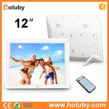 12 Inch LCD White Digital Photo Frame Multifunctional Electronic Picture Album With Mirror Panel Music Video E-book Time Alarm
