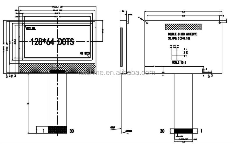 128x64 lcd graphic matrix monochrome LCD display