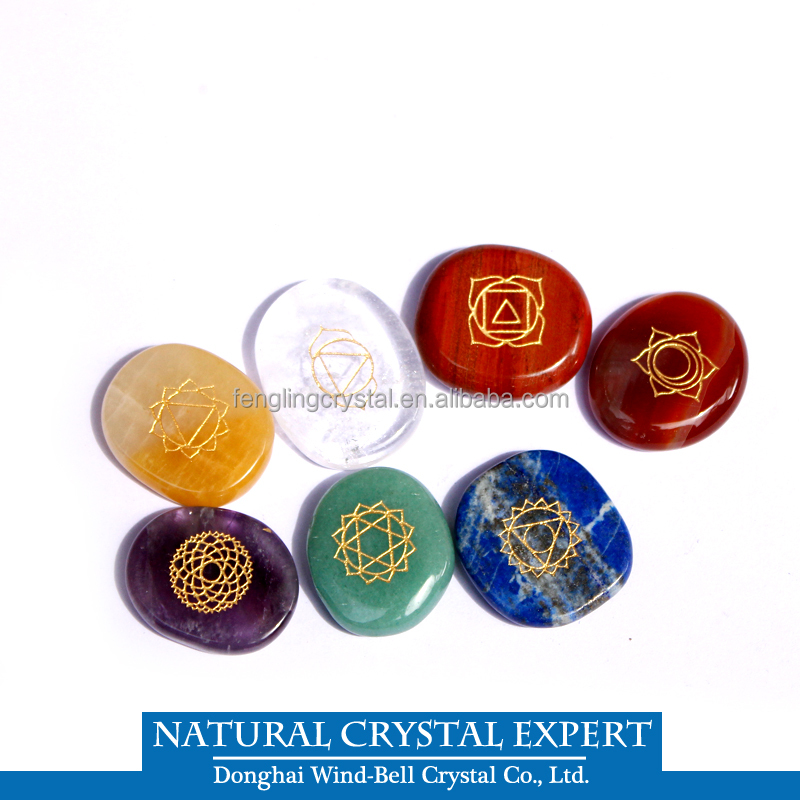 Hot Sale Natural Seven chakra gemstones Chakra Symbol Engraved healing <strong>crystal</strong> wholesale supplier