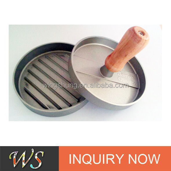 WS-BP06 Good quality aluminium burger press with wooden handle
