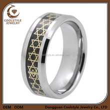 8mm polished titanium ring with carbon fiber inlay and golden star of david