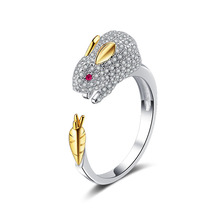 2018 new design 925 sterling silver diamond rings cute rabbit animal shape ring