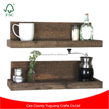 Rustic wood floating shelf for kitchen bedroom bath and laundry shelving needs