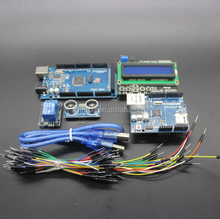 Mega 2560 r3 for arduino kit + HC-SR04 + breadboard cable + relay module + W5100 UNO shield + LCD 1602 Keypad shield