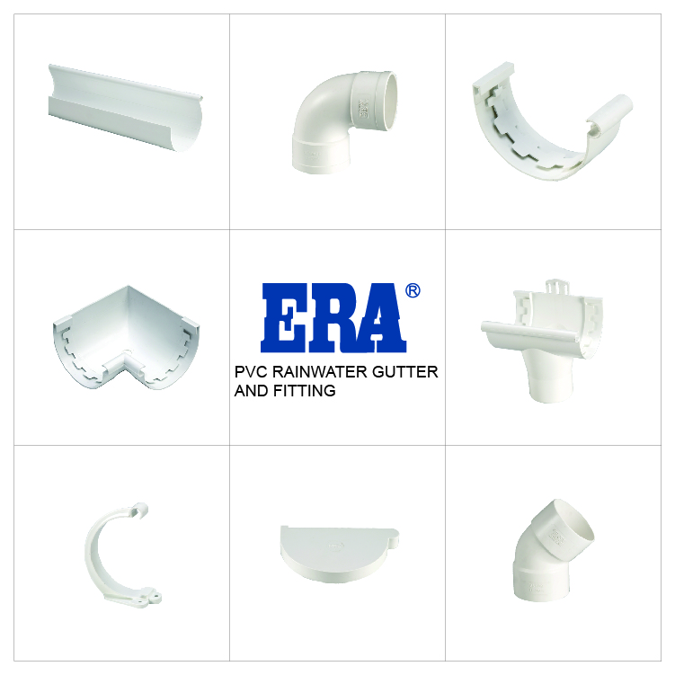 ERA KITEMARK CERTIFICATE 170MM PVC RAIN WATER GUTTER FITTINGS LEFT ANGLE CONNECTOR