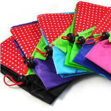 With Square Pouch Cheap Nylon Recycle Foldable Shopping Tote Bag