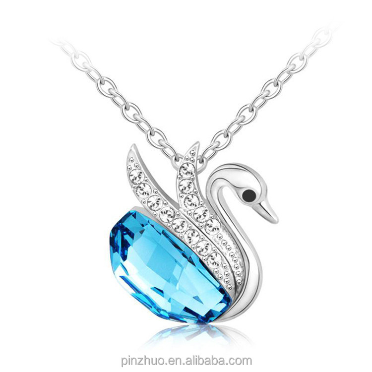 Necklace jewelry 2015, white gold fashion necklace blue <strong>crystal</strong>