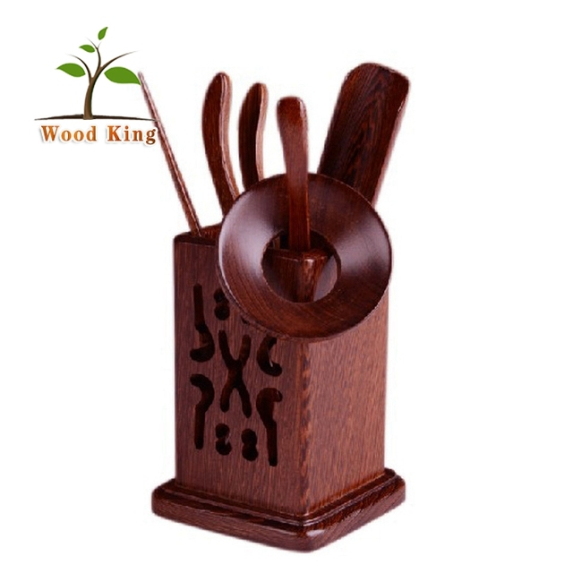 Square Hollowed-Out Chicken Wings Solid Wood Kung Fu Tea Accessories Custom Logo Purple Tea Set