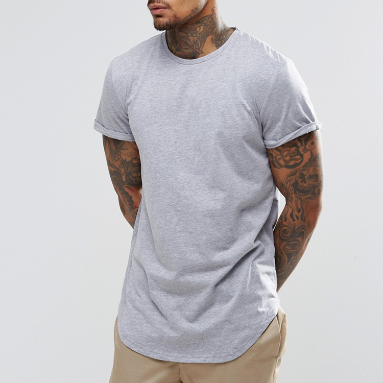 Mens Clothing Lastest Shirt Designs For Men Long Tee Curved Round Hem Cotton T shirt Wholesale China