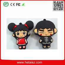 cute PVC cartoon character usb stick 2tb, girl & boy usb stick, cartoon 2000gb usb flash drive