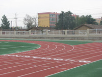 Spray coating running track