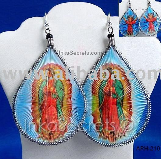 THREAD EARRINGS with RELIGIOUS IMAGES WHOLESALE HANDMADE JEWELRY PERU