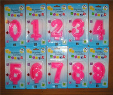 pink birthday number candle
