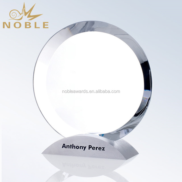 Custom Blank Plaque Award Crystal Circle Trophy with Metal Base