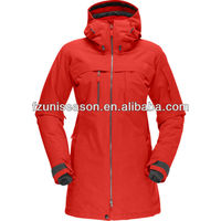 Waterproof xxl womens ski jacket long winter jacket