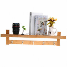 Home Decoration Bamboo Wall Mounting Organizer Shelf Coat Hook Rack with 5 Alloy Hooks for Bedroom,Kitchen,Bathroom