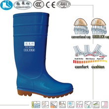 basic blue pvc nitrile rubber half safety wellington boots