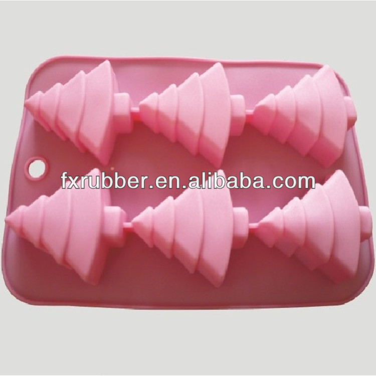 Best seller <strong>silicone</strong> 6 christmas trees shape cake mould
