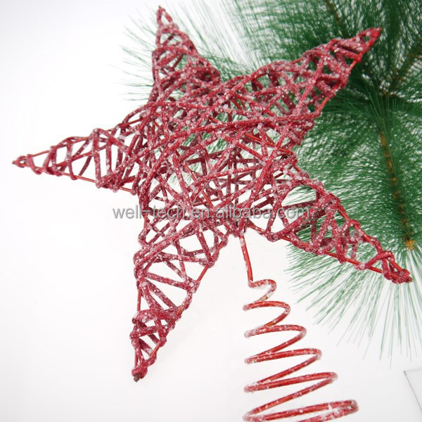 2015 new, imitated rattan star tree topper, Christmas ornament