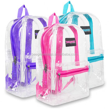 a07da85ad1cd BeeGreen Cheap PVC see through transparent backpack with zipper pocket