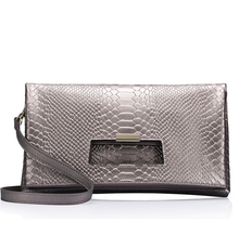New euro america snake skin genuine leather women envelope clutch bag messenger bag with detachable strap