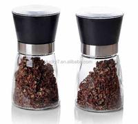 High Grips Glass Salt and Pepper Grinder Set (Black)