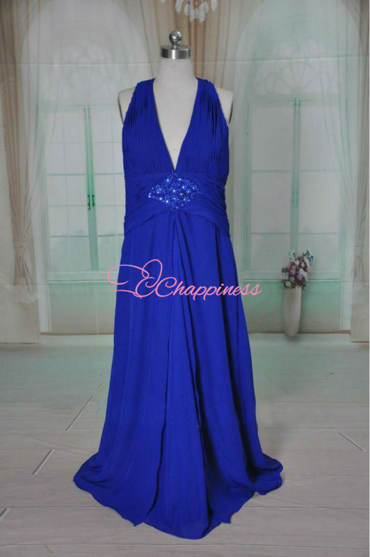 navy blue halter chiffon mother of the bride dress