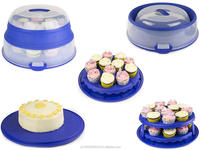 2 In 1 Cupcake And Cake Carrier Storage Box With Collapsible Lid & Carry Handle